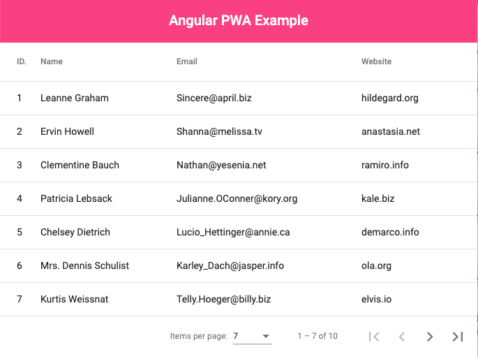 Angular 9 PWA App Example
