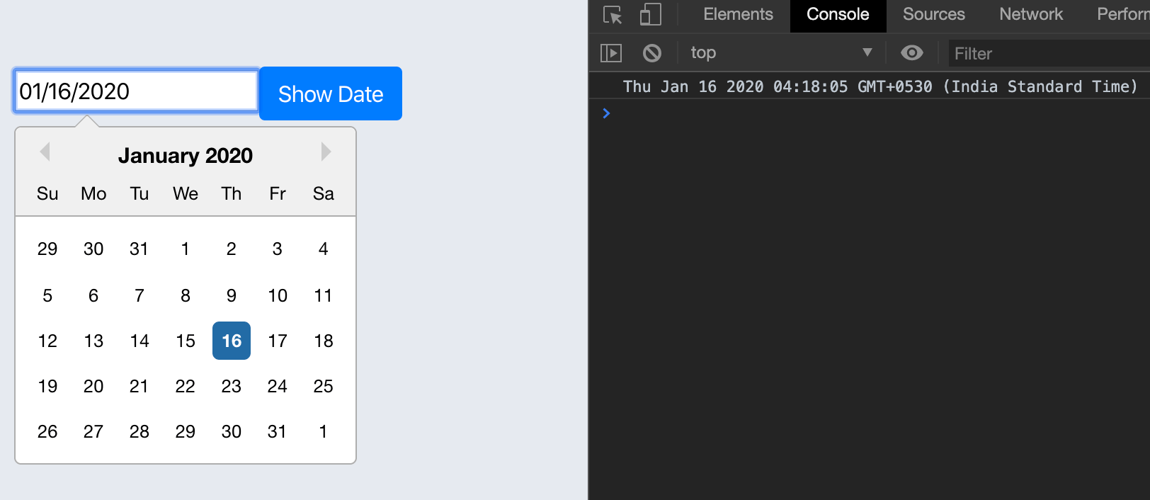 Implement Simple Datepicker with React Form