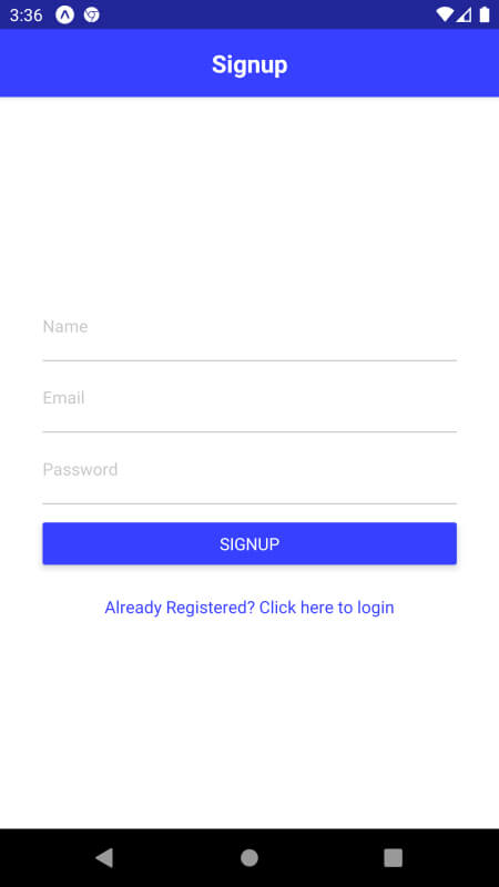 Registration Authentication with Email and Password