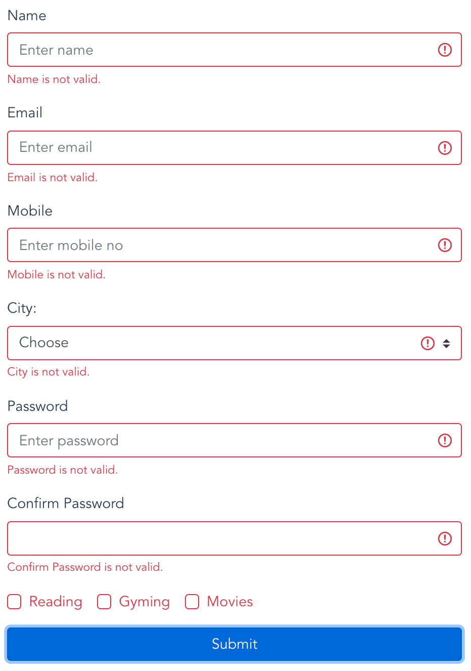 Vue Form Validation Example