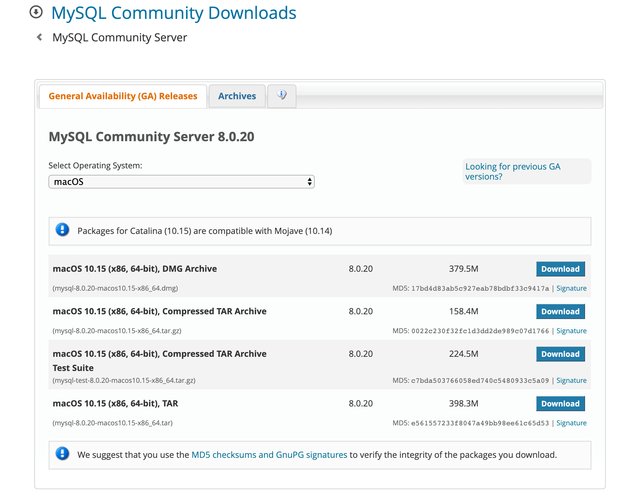 Download MySQL Server