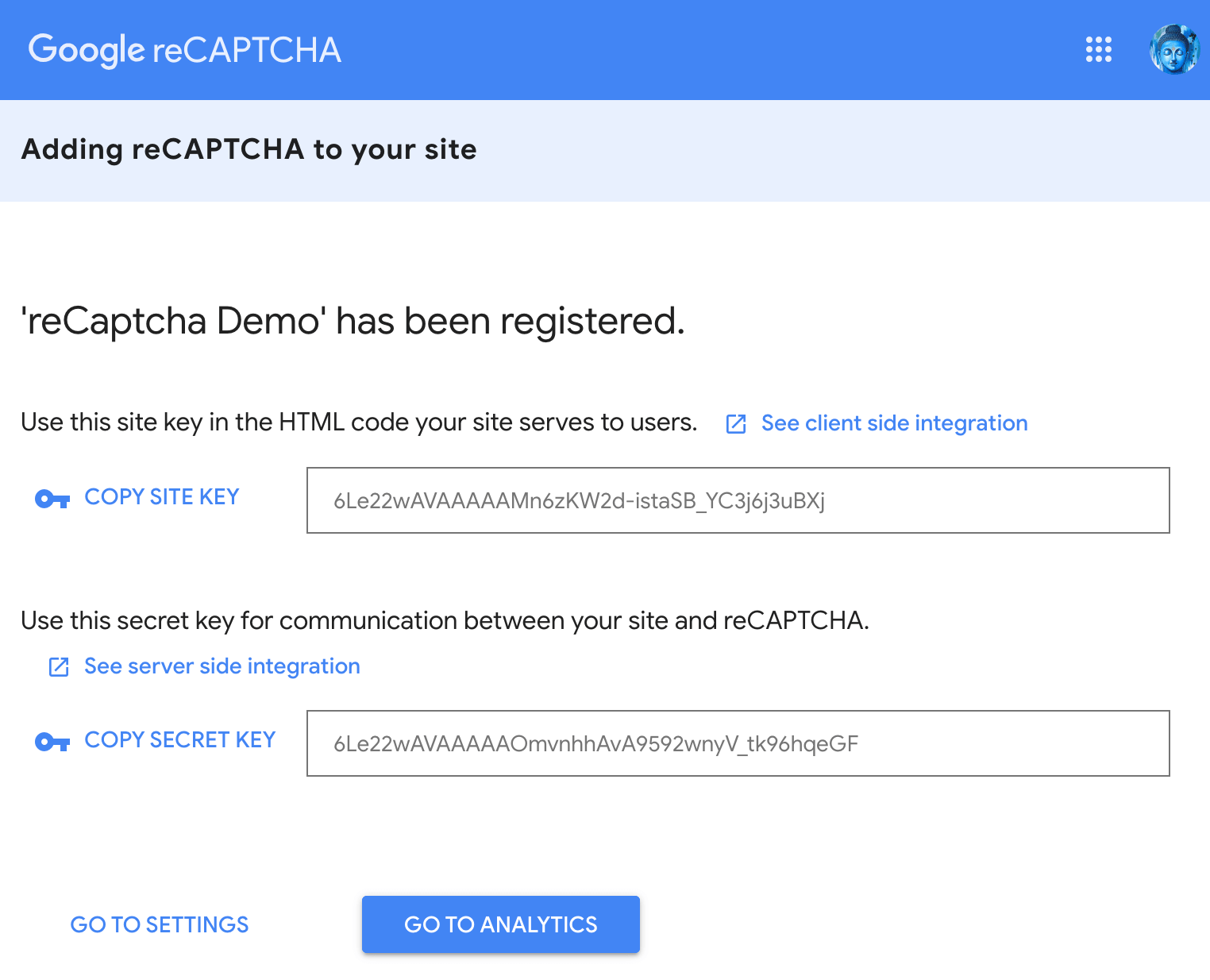Get Google reCaptcha Site and Secret Key