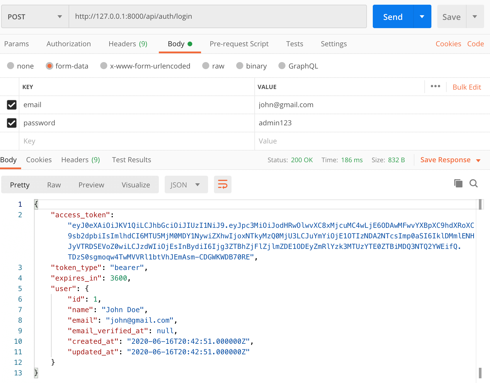 Test Laravel Login API with JWT