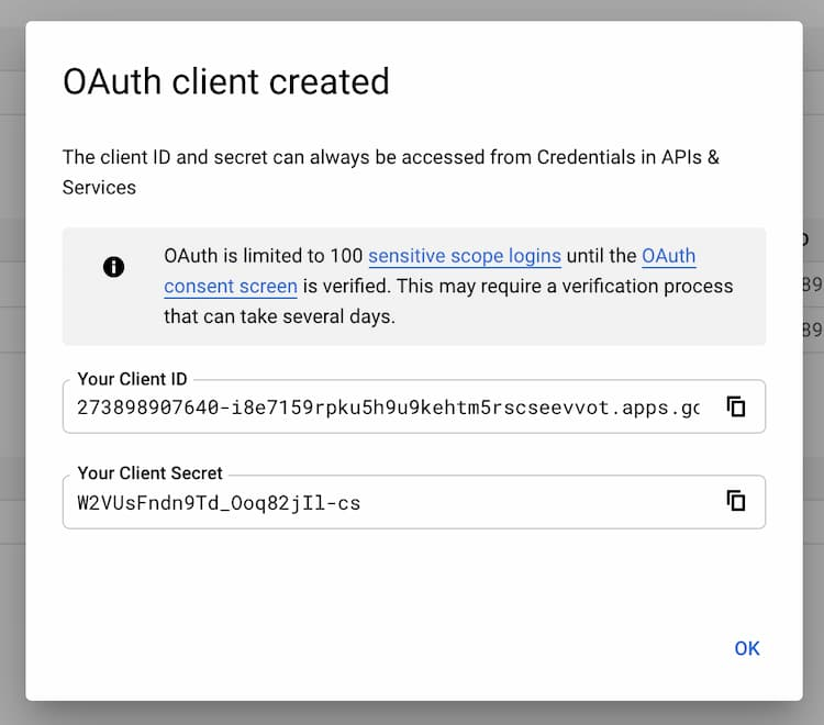 Google Client Id or client secret