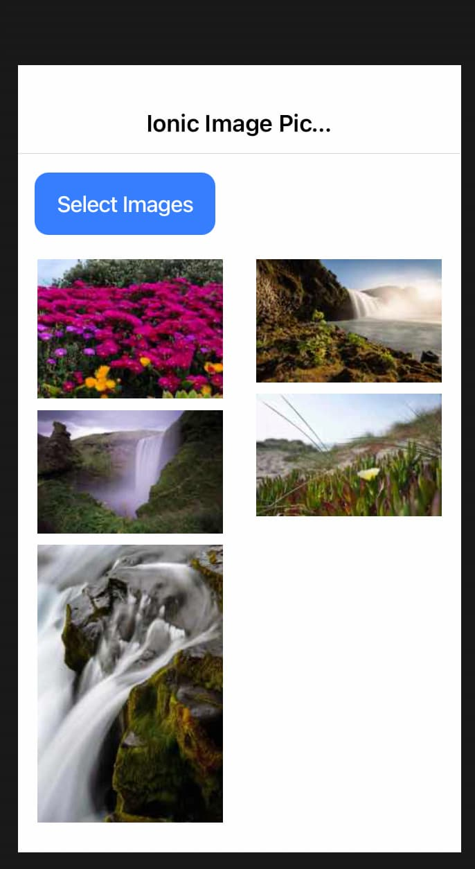 Ionic multiple image selection example