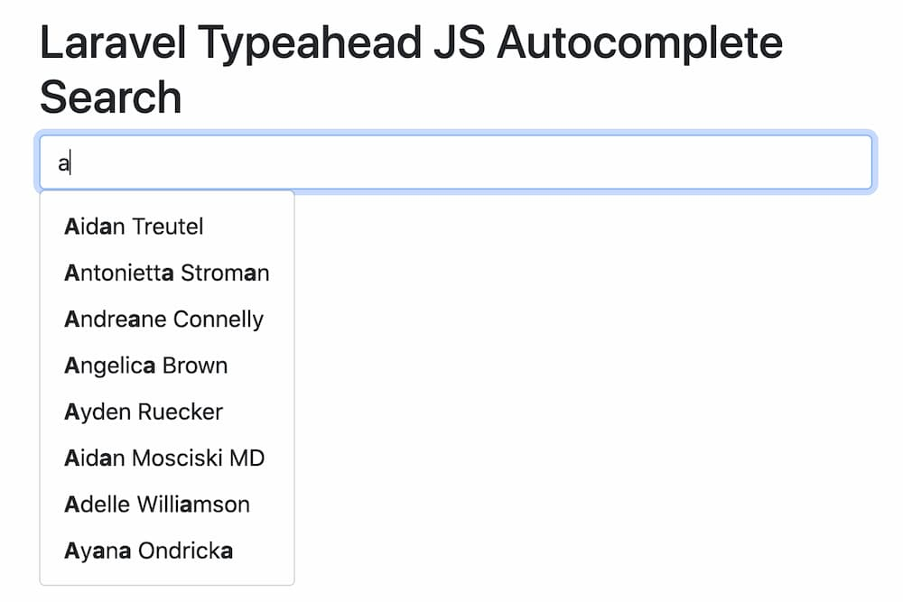 Laravel Typeahead Js Autocomplete Search