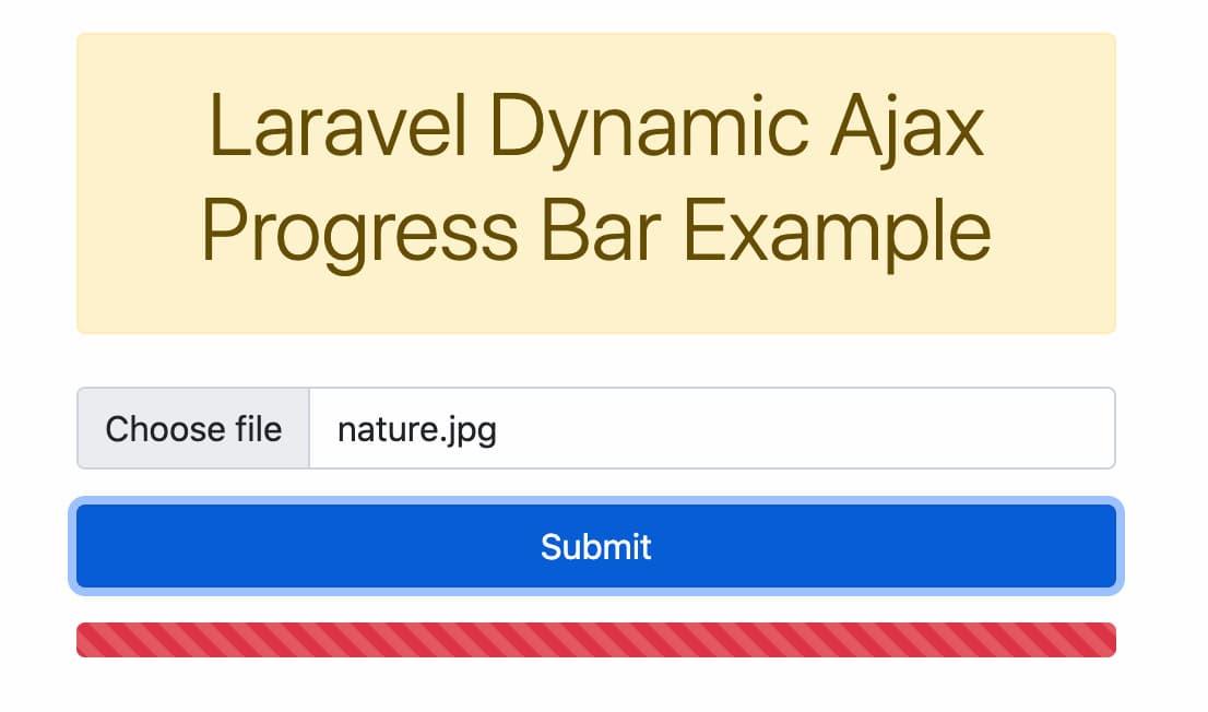 Laravel Progress Bar File Upload